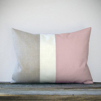 Pastel Pink Color Block Decorative Pillow with by JillianReneDecor