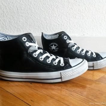 black and grey leather converse high tops with foldover cuffs double collar and embro
