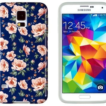 Galaxy S5 Case, DandyCase PERFECT PATTERN *No Chip/No Peel* Flexible Slim Case Cover for Samsung Galaxy S5 - LIFETIME WARRANTY [Vintage Navy Floral]