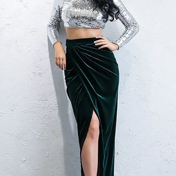 Kiss Kiss Velvet Emerald Green Draped High Waist Asymmetric Slit Front Maxi Skirt