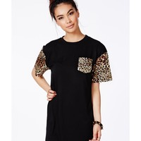 Missguided - Celestiel Contrast Leopard Print T-Shirt Dress
