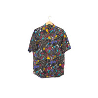 90s mens short sleeve button down shirt / vintage 1990s / wild abstract print / allover pattern / multicolor / colorful /  M - L