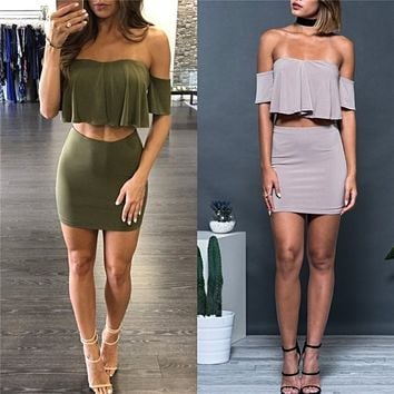 Two Piece Suits Sexy Crop Top And Skirt Clubwear