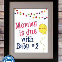 Baby Number 2 Print - Announcing Second Baby - Big Brother - Big Sister - Pregnancy Announcement - Pick Your Colors