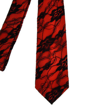 Flower Lace Neck Tie Black and Red