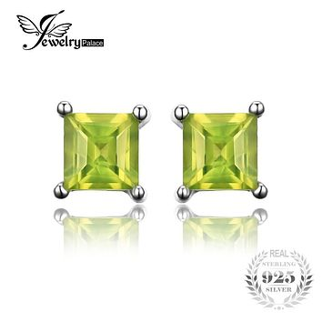 Jewelrypalace Square 0.7ct Natural Peridot 925 Sterling Silver Stud Earrings Fine Jewelry for Fashion Women Statement Jewelry