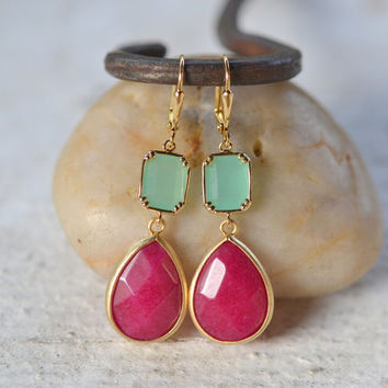 Jewel Dangle Earrings with Fuchsia Teardrop and Aqua Rectangle Jewels. Long Dangle Earrings.