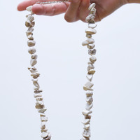 White natural howlite necklace, nugget shape white necklace, large white beads, elegant necklace, OOAK gemstone