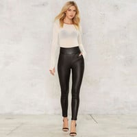 High Waist Back Zipper Skinny Leather LOOK Pants