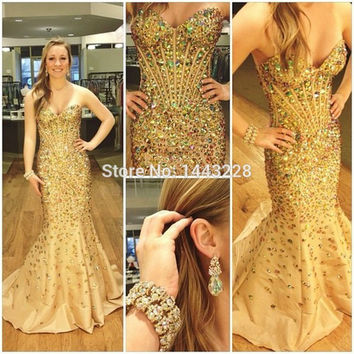 Mermaid Sweetheart Sparkly Prom Dresses with Rhinestones Taffeta Crystal Beaded Glittering Luxury Gold  Formal Evening Gown