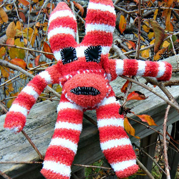 New Handmade Evil Ugly Sock Critter Rabbit. Fuzzy pepperment striped stuffed rabbit. Not your average sock monkey. ON SALE WAS 25.00