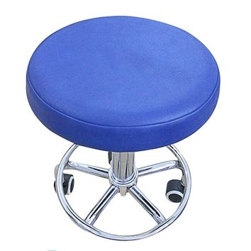 Stool Cover Faux Leather Round Chair Cover Dental Chair Cover Elastic Seat Slipcover Dining Chair Slipcover Solid Color