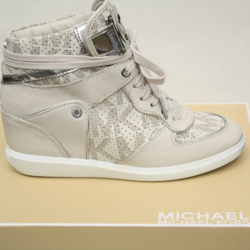Brand New Michael Kors Nikko High Top Wedge Vanilla Sneakers