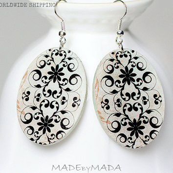 Ornamental Oval Earrings Beige & Black  Dangle Jewelry 2-sided , gift for her under 25