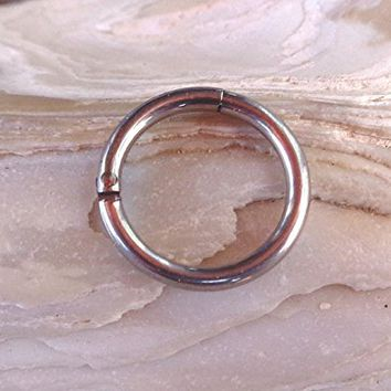 Hinged Segment Ring,Seamless,Endless Septum Ring,Tragus Piercing Jewelry,Helix,Cartilage,Scaffold,Upper Ear,Segment Ring,Lip Ring,Nipple Ring,Endless Hoop Earring Color Silver.16 Gauge(1.2mm).Diameter:8mm