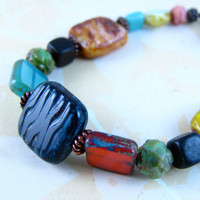 GYPSY Czech Picasso Glass Bracelet .. on Luulla