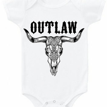 OUTLAW Boho skull graphic baby bodysuit childrens tee shirt top boho Onesuit Native American clothes tribal shirt hippie babe Western babe