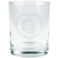 Valentines Male Sugar Skull Etched Glass Tumbler