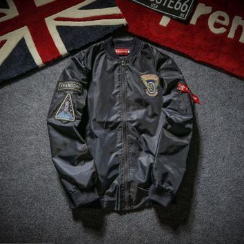 Pilot Jacket Men and women tide brand supreme embroidery baseball clothing motorcycle cotton youth thickening tooling jacket Blue
