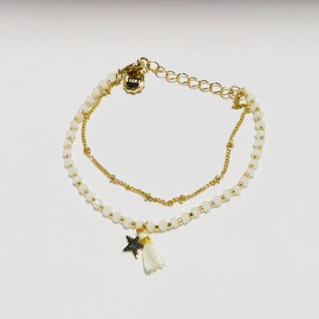 Lizas Bead Bracelets-Delicate White Bead Tassel and Gold Lobster Clasp