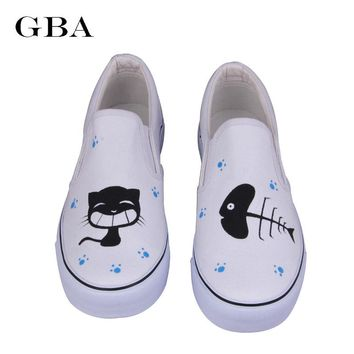 Gba Shoes Woman 2016 Spring New Foot Wrapping Women Shoes Hand Painted Canvas Shoes Cat Fish Graffiti Eu Plus Size 35-44 Booty