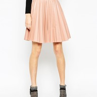 ASOS Pleated Leather Look Skirt at asos.com