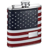 Visol Patriotic  Red and Blue & White Leather 6oz Hip Flask Wrapped Stainless