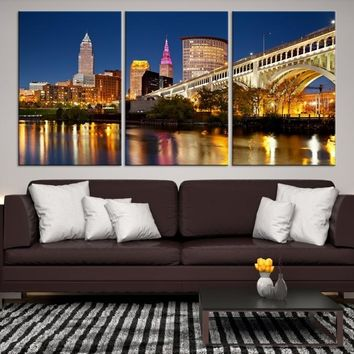 35446 - Reflections on Water at Night in Cleveland, Extra Large Cleveland Wall Art Canvas Print, Cleveland Ohio Wall Art, Cleveland City Skyline Canvas, Skyline Wall Art, Framed Canvas Art