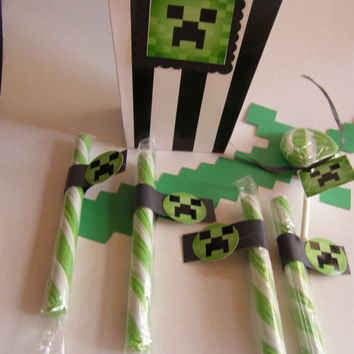 Popcorn Boxes Snacks, Chips, Video Game Loot Bags Green 10 Minecraft Game Kids, Boys, Building Blocks The Nether Party Favors