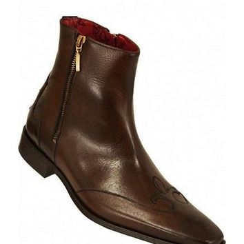 Wakeby Wolf Finesse Men Brown Zipper Genuine Leather Boots