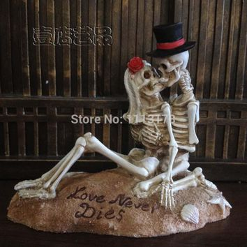 Beach Wedding Cake Topper Halloween Skull