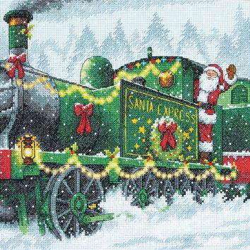 """Santa Express (14 Count) Dimensions Counted Cross Stitch Kit 10""""X10"""""""