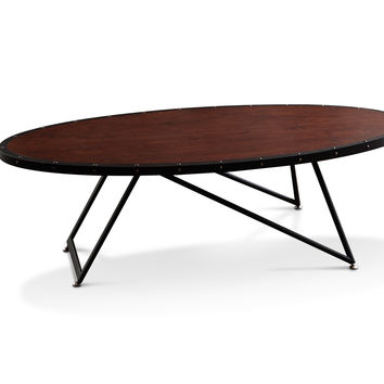 Bellaeven Vintage Sturdy Industrial Oval Wood Cocktail Coffee Table, Vintage Walnut