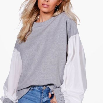 Heidi Balloon Sleeve Contrast Sweat | Boohoo