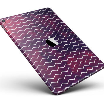 "Purple and Red Grunge Clouds with White Chevron Full Body Skin for the iPad Pro (12.9"" or 9.7"" available)"