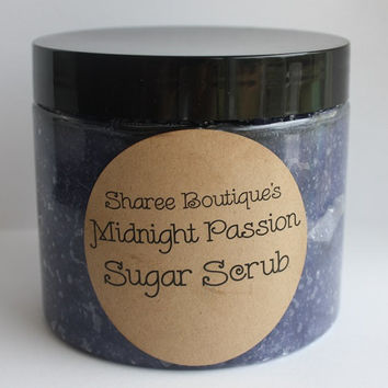 Midnight Passion Sugar Scrub - Large 16oz. Jar - Loaded with Essential Oils