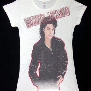 "80'S Retro Michael Jackson King Of Pop ""BAD"" Ladies T-Shirt NEW RARE!!!"