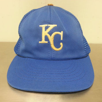 Vintage 90's Kansas City Royals Blue Mesh Trucker Snapback Dad Hat MLB Major League Baseball Made By UII
