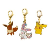 Pokemon Center Original Metal Charm set, Ninfia, Pikachu, Eevee