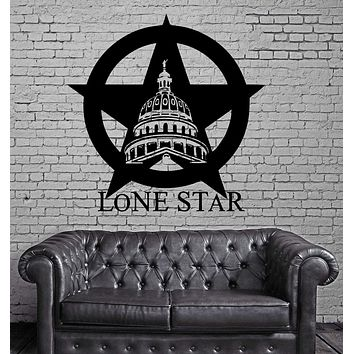 Texas Lone Star Cowboy State USA Map Decor Wall MURAL Vinyl Art Sticker Unique Gift M349