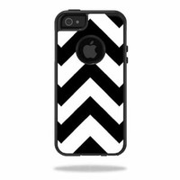 Mightyskins Protective Vinyl Skin Decal Cover for OtterBox Commuter iPhone 5/5s/SE Case Cell Phone wrap sticker skins Black Chevron