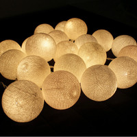 20 White Cotton Ball String Lights