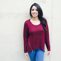 Burgundy Zipper Sweater