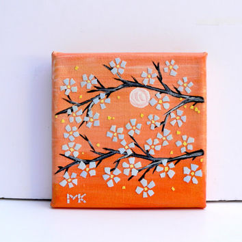 ACEO Mixed Media Collage Home Decor Gift Ideas For Her Art Painting Cherry Blossom on Orange EggShell Mosaic Art Wall Home Decor Gift Ideas