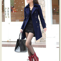 Stylish double breasted trend coat for women, polo collar, shaped women winter coat jacket