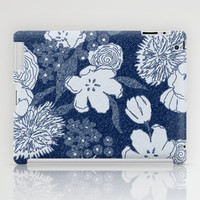 Sketchy Floral: Navy Tonal iPad Case by Eileen Paulino