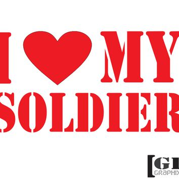 I Heart My Soldier Decal - C2424