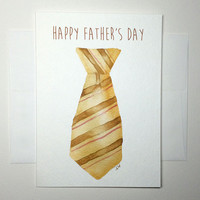 Fathers Day Card - Watercolor Necktie - A7