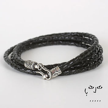 VujuWear Thick 3mm Braided Black Men's Wrap Leather Bracelet