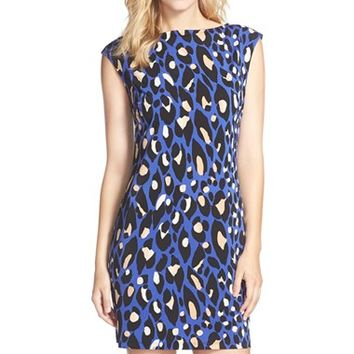 Women's Trina Turk 'Felana 2' Leopard Print Jersey Shift Dress,